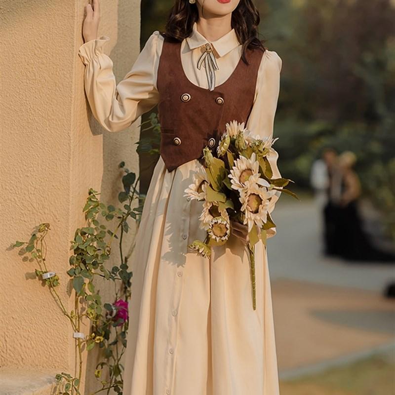 民国时期文艺气质女装复古英伦风短马甲连衣裙修身洋装小礼服春秋