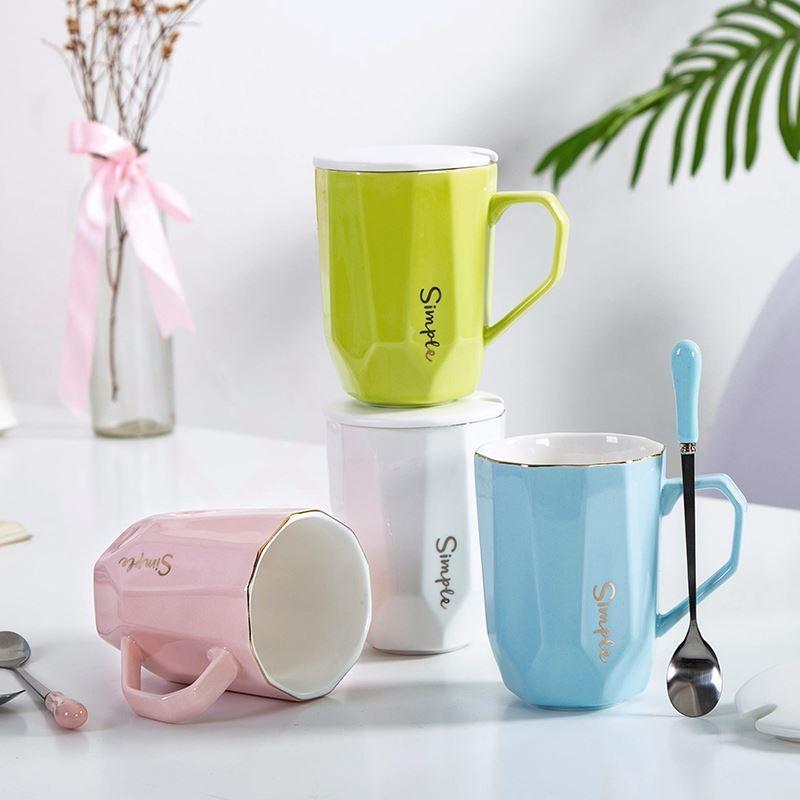 上班气质带盖茶杯时尚牛奶高级早餐水杯女网红款陶瓷新款文艺喝水
