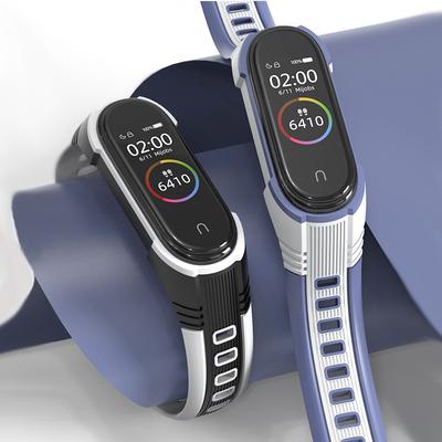 米布斯适用于小米手环6/5/4/3代运动腕带 双色硅胶X造型五代柔软个性表带防水小米三代四代NFC通用新款替换带