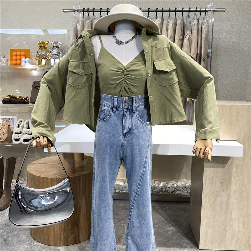 Small casual Lapel loose Pocket Shirt coat + pleated slim fitting short suspender vest two piece suit