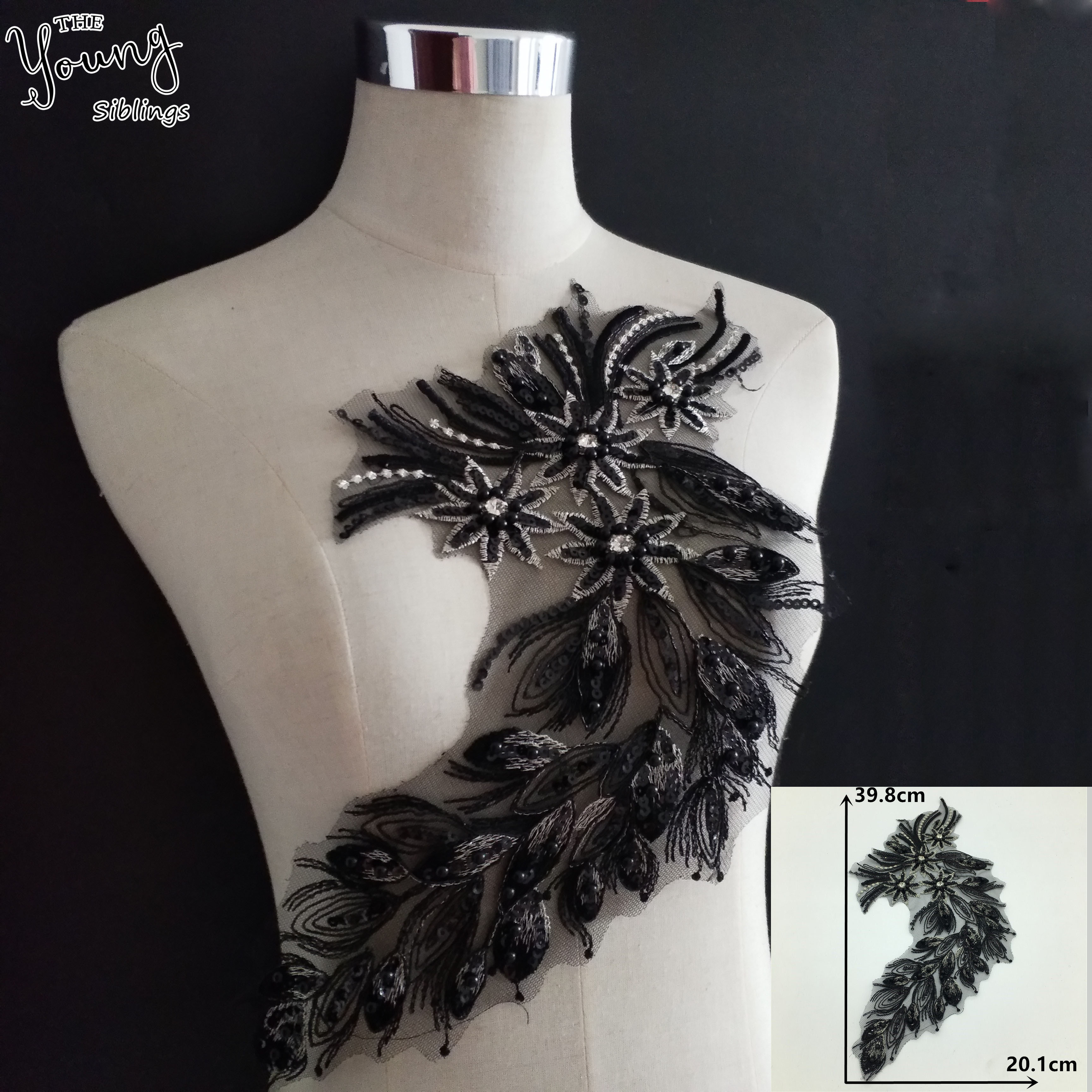 High quality black nail bead imitation pearl lace mesh lace decorative dress accessories DIY accessories