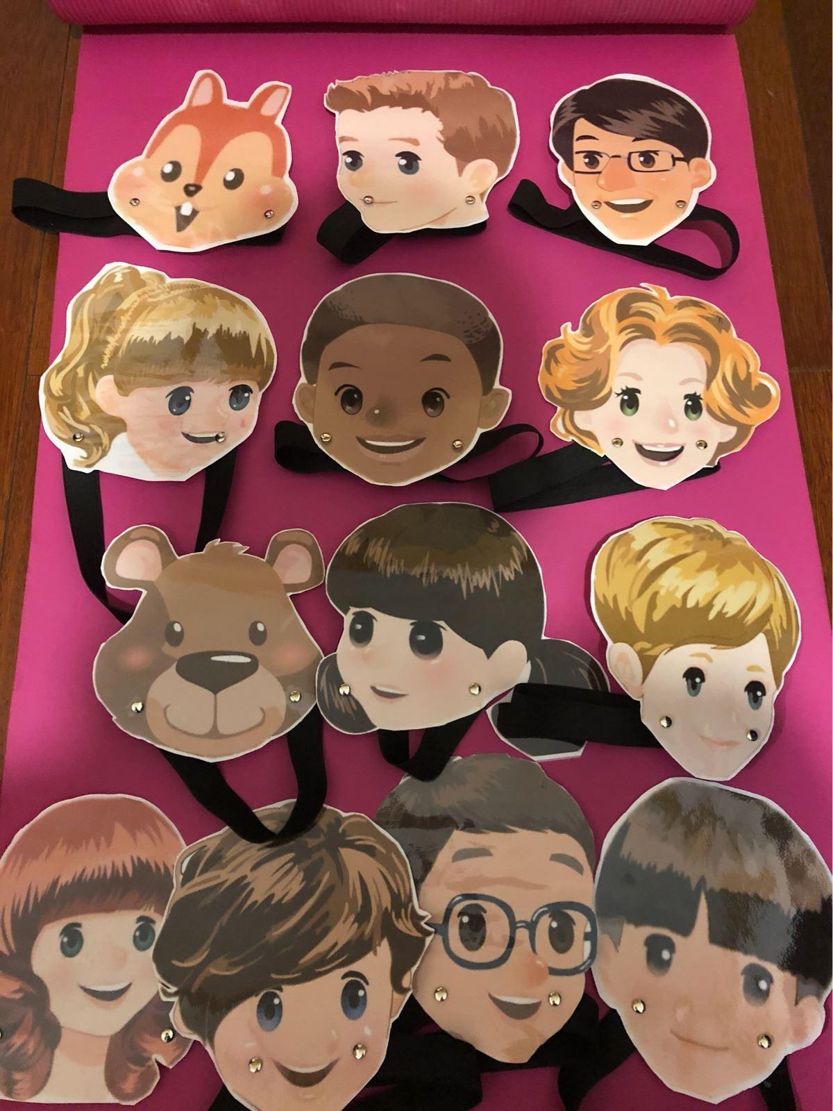 小学玩具装扮惊喜英语脸谱人物头饰自制教具面具生动女生上课教学