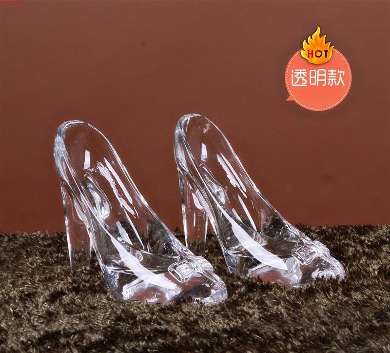 欧式古典 水晶玻璃高跟鞋摆设 家具家居软装饰品摆件#透明