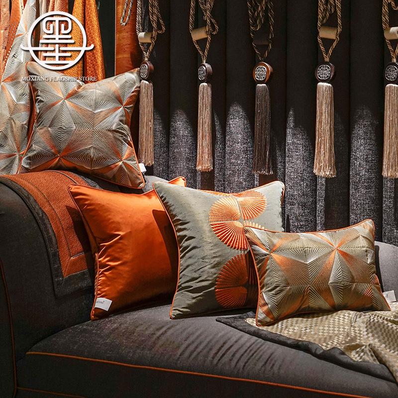 12-02新券新中式轻奢客厅沙发橙色奢华抱枕