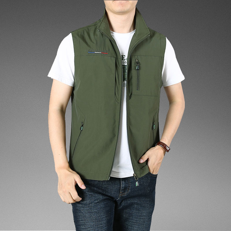 Outdoor men's waistcoat spring and autumn thin section plus fertilizer to increase multi-pocket waistcoat tooling vest quick-drying waistcoat jacket