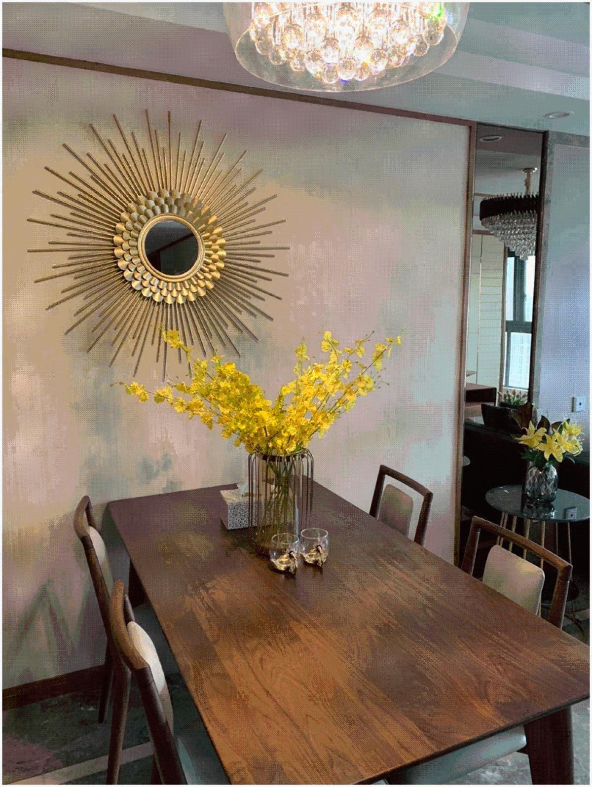 欧式太阳镜壁挂装饰餐厅轻奢墙面镜子铁艺装饰镜背景墙美式玄关
