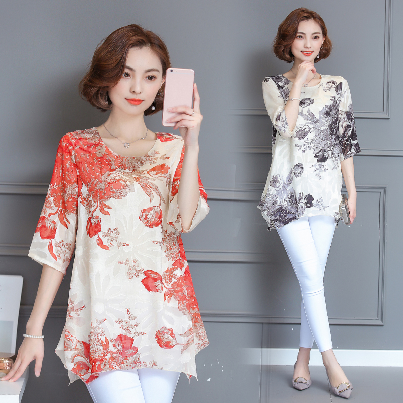 Spring and autumn dress mother middle aged womens dress spring middle sleeve dress 40-50 summer Chiffon short sleeve top