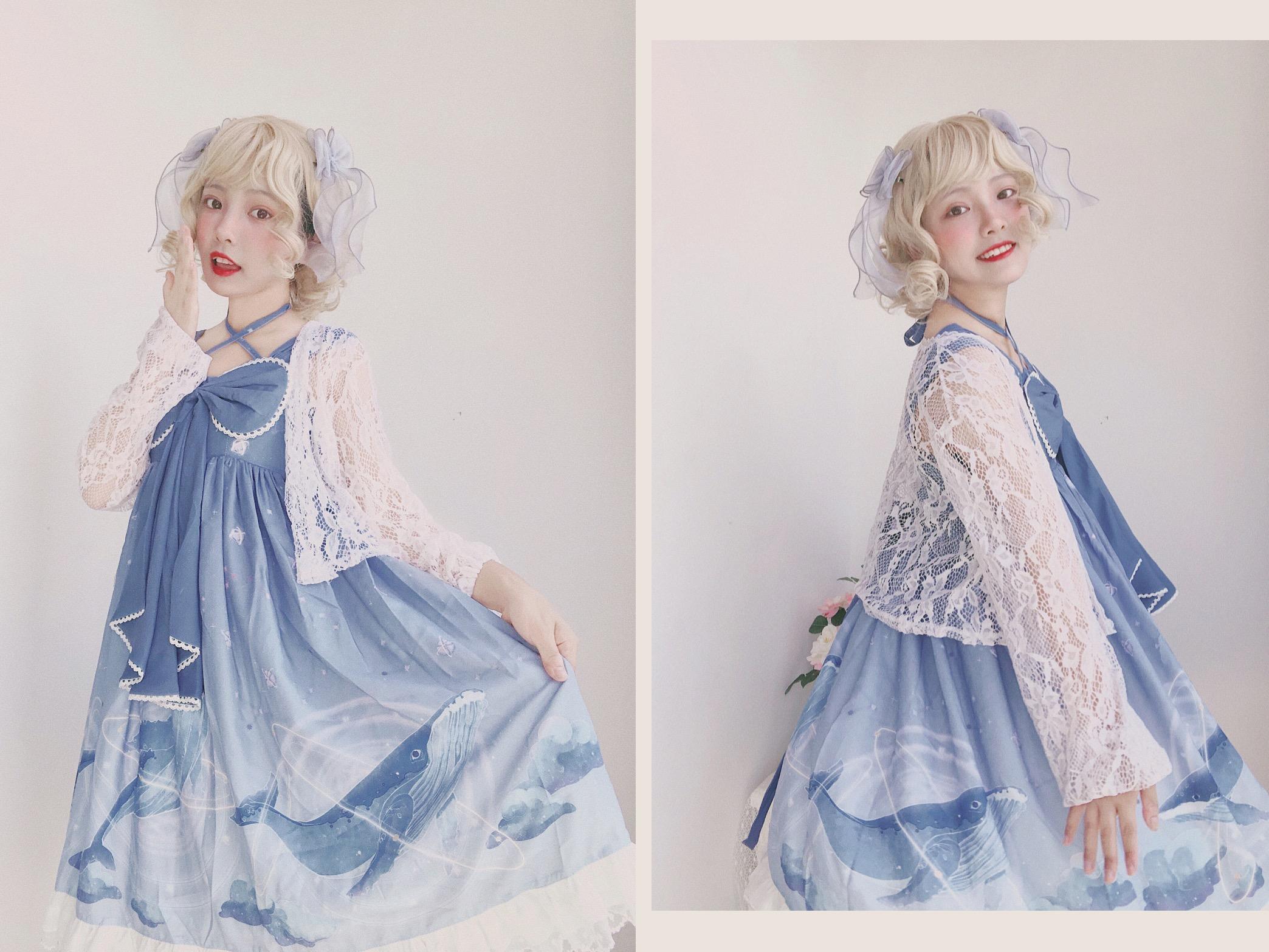 【くじらが星を落とす】OP JSKスポットオリジナルLolita Lolita日常プリントのスカート