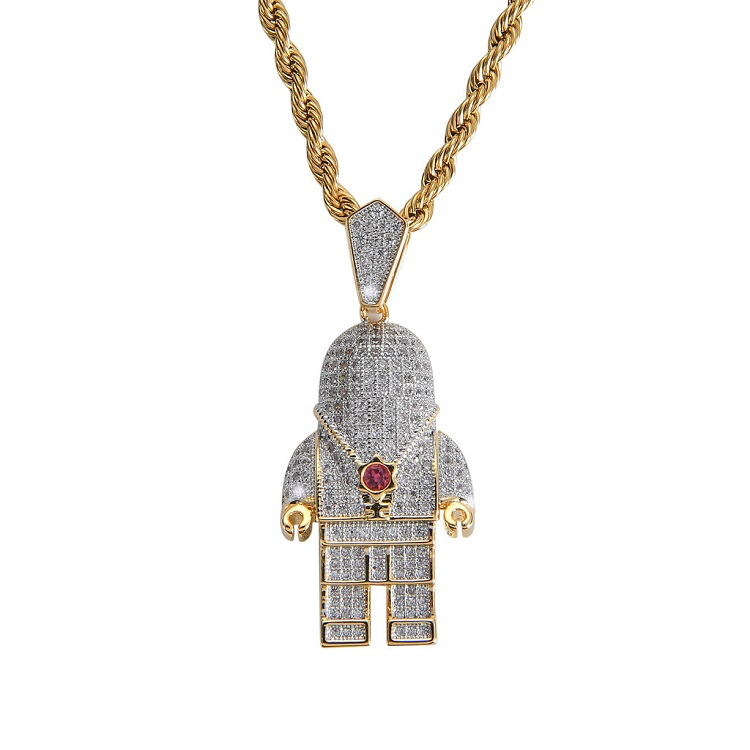 Astronaut Necklace Iced Out 宇航员太空人满钻项坠 嘻哈男项链