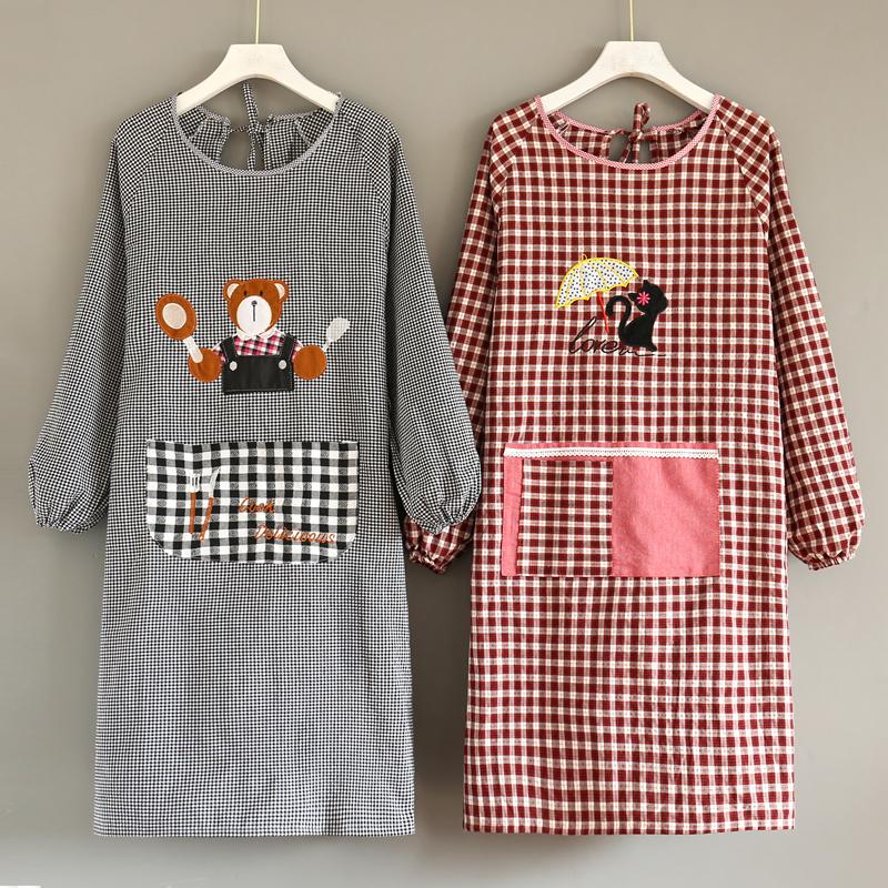 纯棉围裙长袖厨房家用罩衣时尚女防油防污可爱日系工作韩版男定制