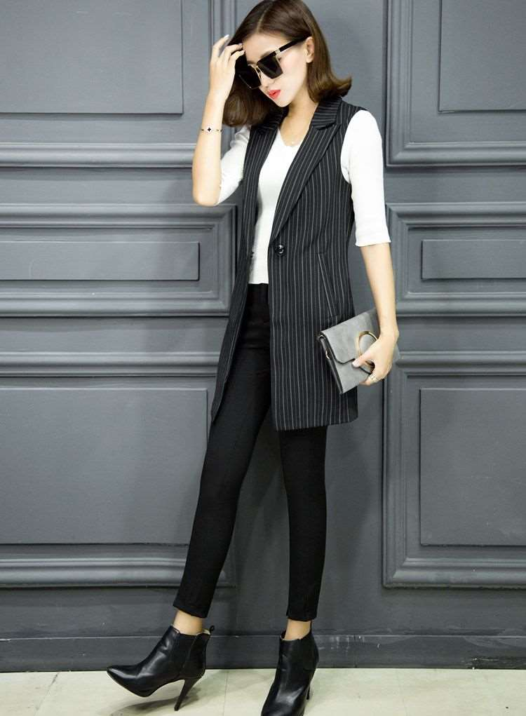 Sleeveless suit vest womens spring and autumn 2020 spring and Autumn New Korean mid long slim large stripe coat