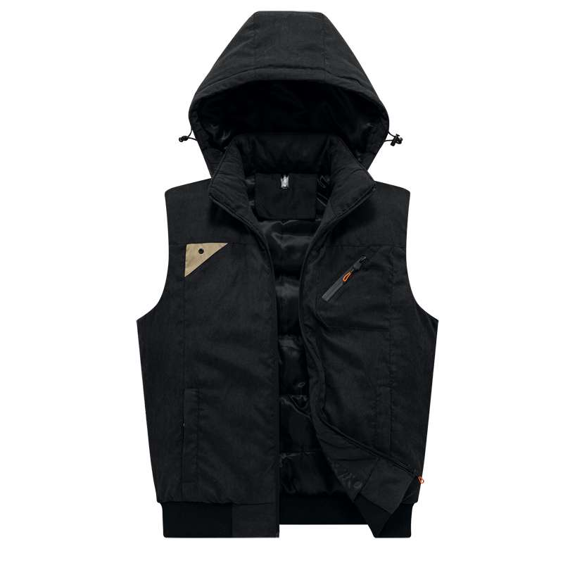 New dads autumn and winter mens Hooded Vest imitation down Cotton Vest Jacket loose mens jacket