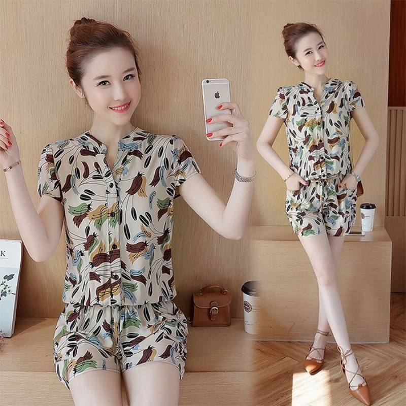 Rayon casual printed Jumpsuit womens summer short sleeve cotton one piece pants small fresh floral Jumpsuit