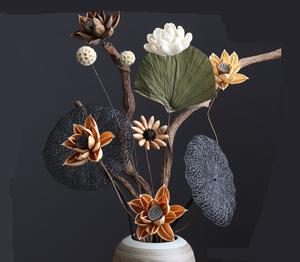莲蓬荷花干花套装装饰 花禅意中式棉花客厅绣球花家居摆设