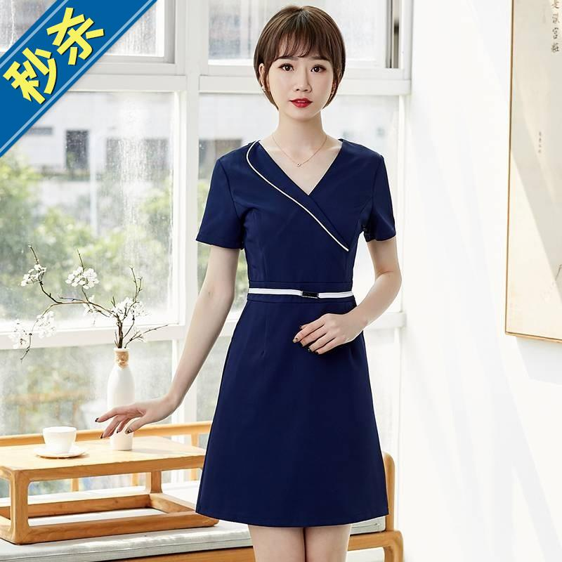 Work clothes zipper nurses uniform white coat summer beautician suit dress split Korean female Fannie 8
