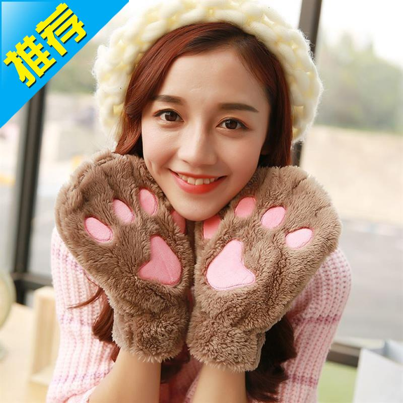 Half finger female winter Q Plush dew finger Student Korean claw DIY winter cold proof cat claw gloves thickened