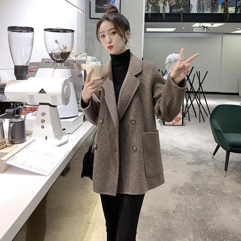 New Korean woolen coat for autumn / winter 2020 womens middle and long loose small brown large woolen coat