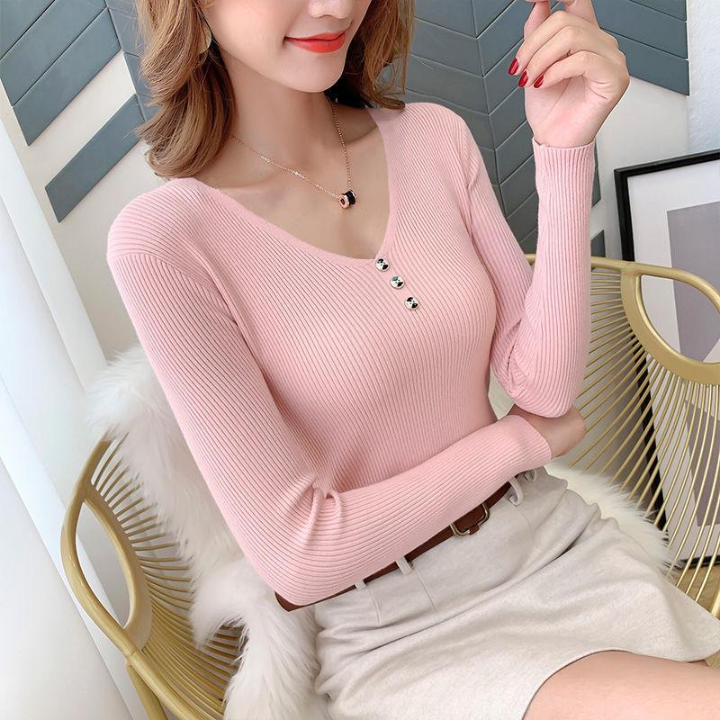 Autumn new V-Neck long sleeve bottoming shirt 2021 large womens wear versatile thin top womens three button temperament T-shirt
