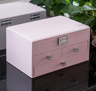 首饰盒带镜子高档简约精致木质珠宝饰品收纳盒大容量结婚生日礼物