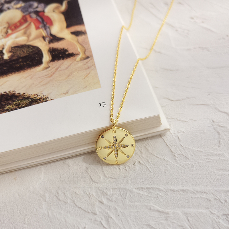 S925 Sterling Silver Necklace European and American style disc clavicle chain creative design compass compass letter necklace