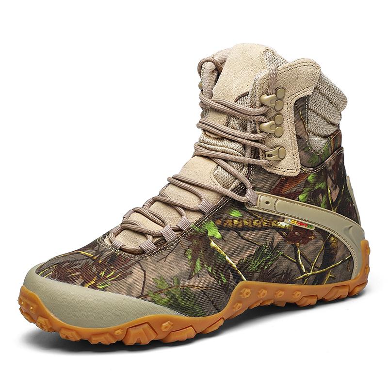 High top climbing boots mens outdoor desert Hiking Boots Mens lightweight wear resistant waterproof anti slip breathable climbing shoes