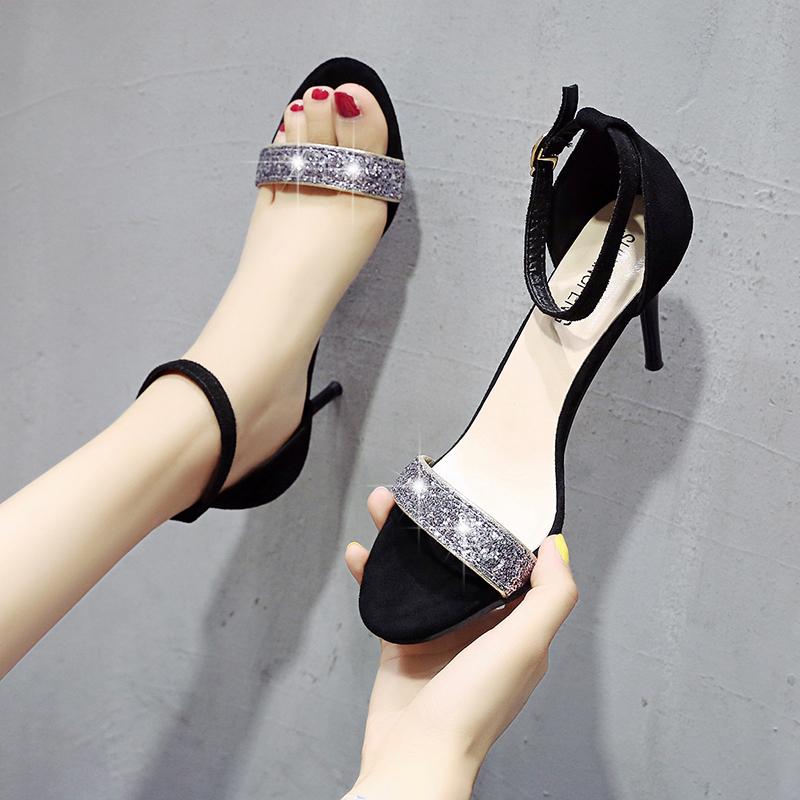 女夏2021新款高跟鞋性感百搭细跟一字扣带露趾凉鞋网红仙女风8。
