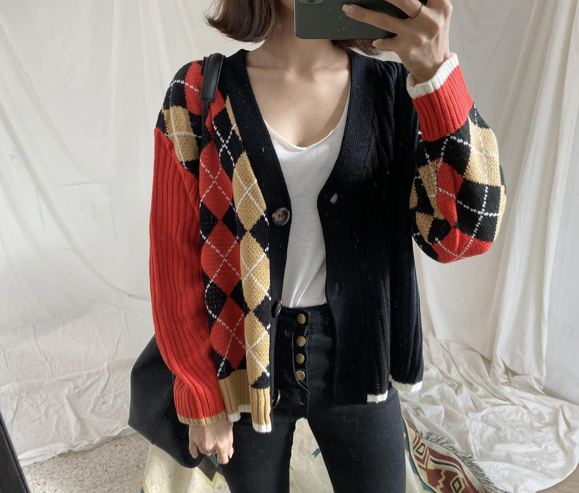 實拍實價韓版復古菱形V領單排扣針織開衫實拍寬松慵懶毛衣外套