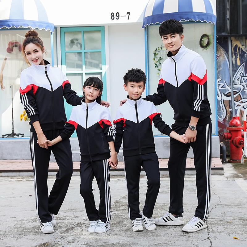 新款中小学生校服秋冬季金光绒面料外套休闲运动两件套装定制