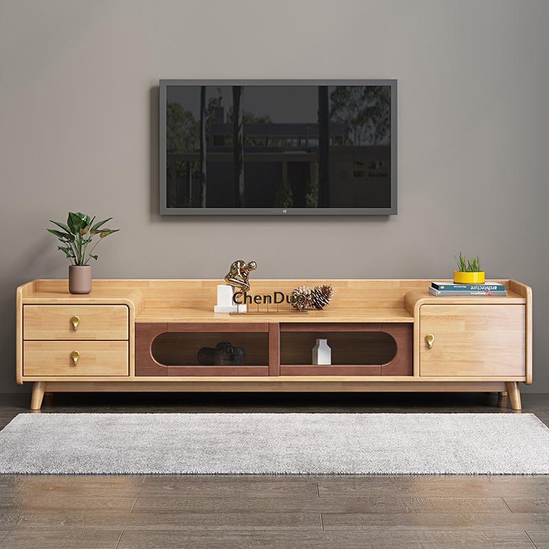 北欧电视柜茶几组合简约现代小户型简易客厅卧室地柜实木电视机柜