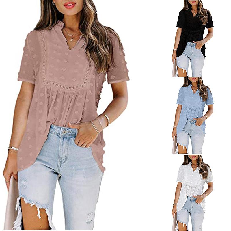 2021 European and American foreign trade cross border Amazon lace stitching dot Bohemian Chiffon short sleeve shirt blouse