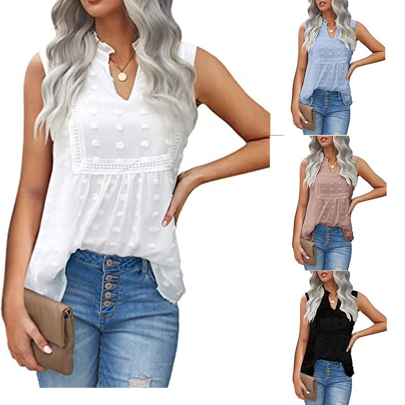 2021 European and American foreign trade cross border Amazon lace stitching dot Bohemian chiffon vest shirt blouse