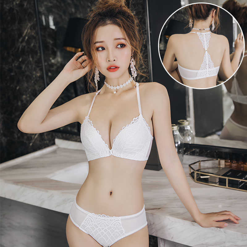 Japanese cup rimless French bra cover with less sexy lace front button back triangle female top thin down thick drop