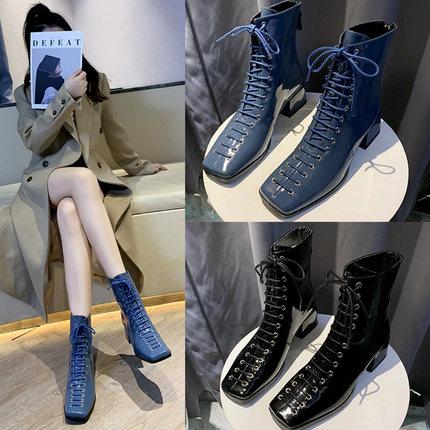 马丁靴女英伦风蓝色女靴子系带中跟粗跟网红漆皮黑色方头短靴薄款