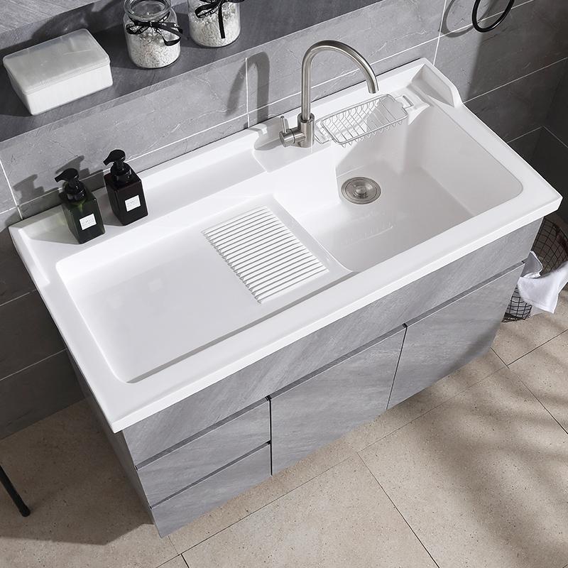 不锈钢落地柜家用卫生间洗手池浴室柜洗衣台带搓板阳台洗衣柜组合