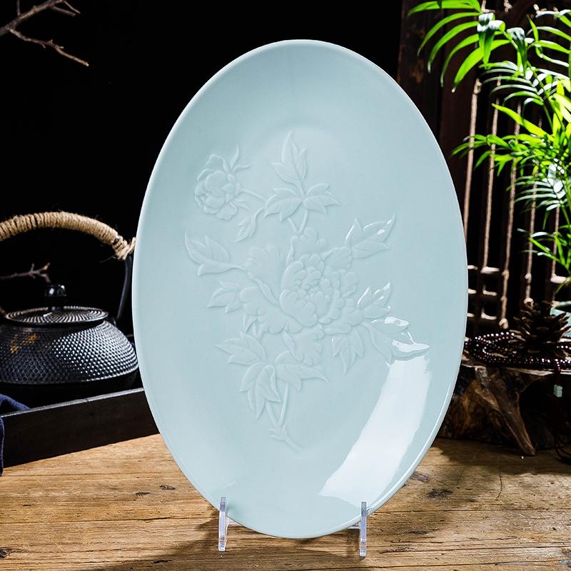 景德镇陶瓷碟影青色釉12英寸菜盘鱼盘中式餐具色如玉高温食器包邮