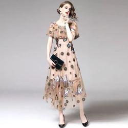 欧洲站2020新款时尚欧美走秀款女装高端蝴蝶绣花网纱连衣裙女