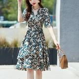 碎花雪纺连衣裙女夏2021年夏装新款女装小香风法式短袖小个子裙子