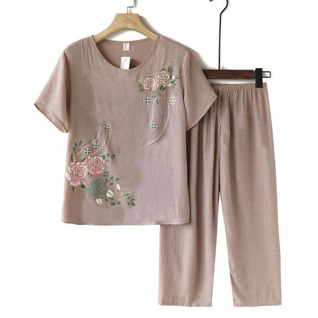 中老年人夏季纯棉麻套装休闲大码妈妈洋气女装夏天姥姥奶奶两件套