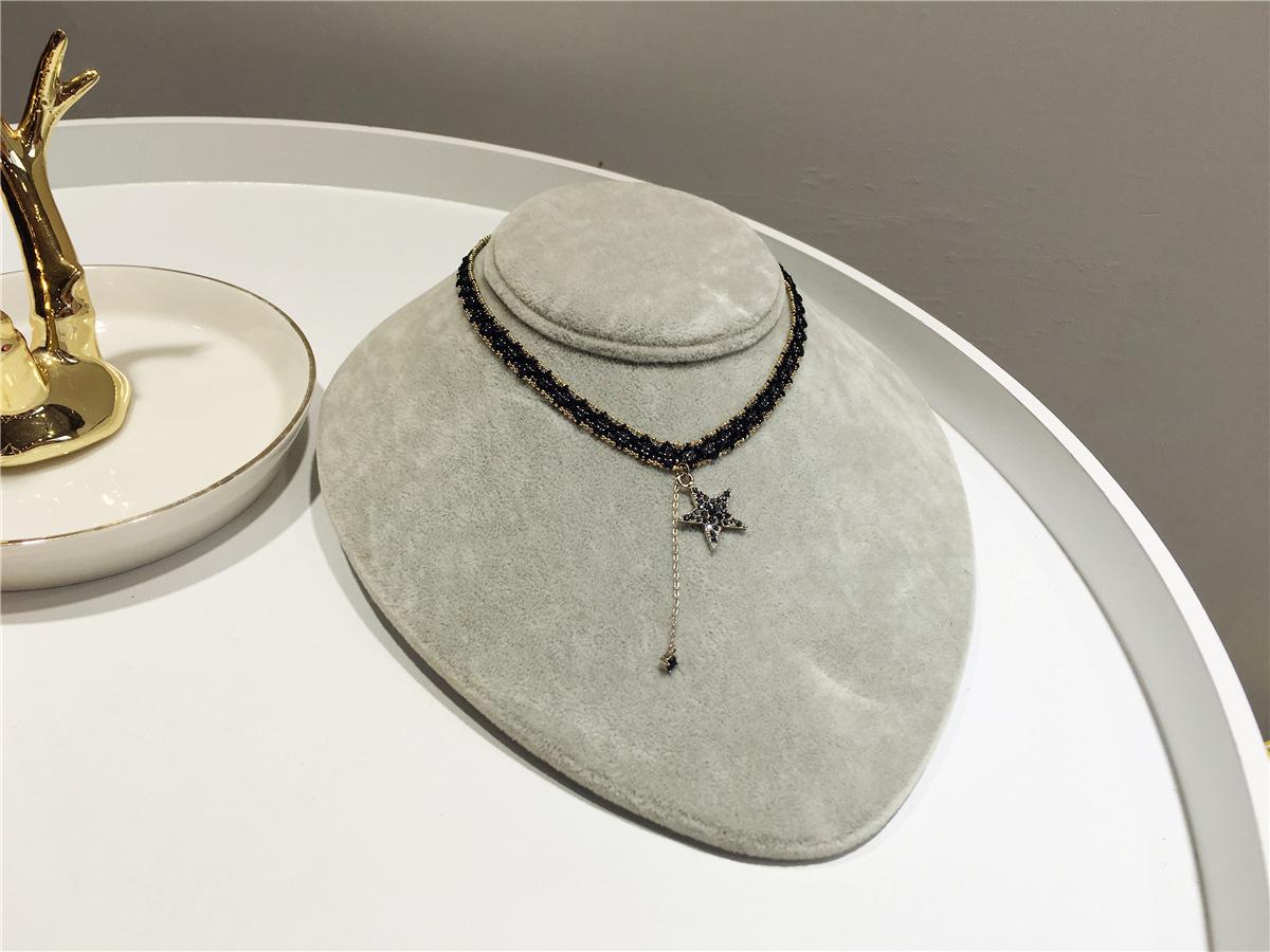 韩国风甜美镶钻流苏项链 复古优雅宽版串珠颈链短