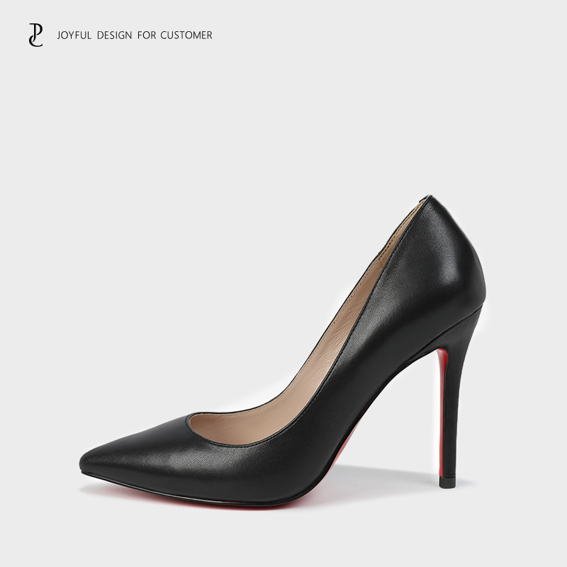 High heeled shoes women 2020 new leather pointed shallow mouth sexy temperament red sole heel shoes