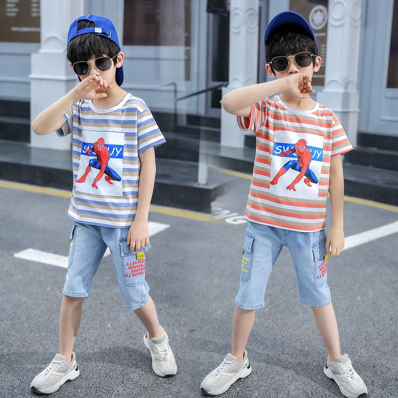 2020 new childrens wear boys summer short sleeve set summer childrens two piece set boy handsome spider man summer