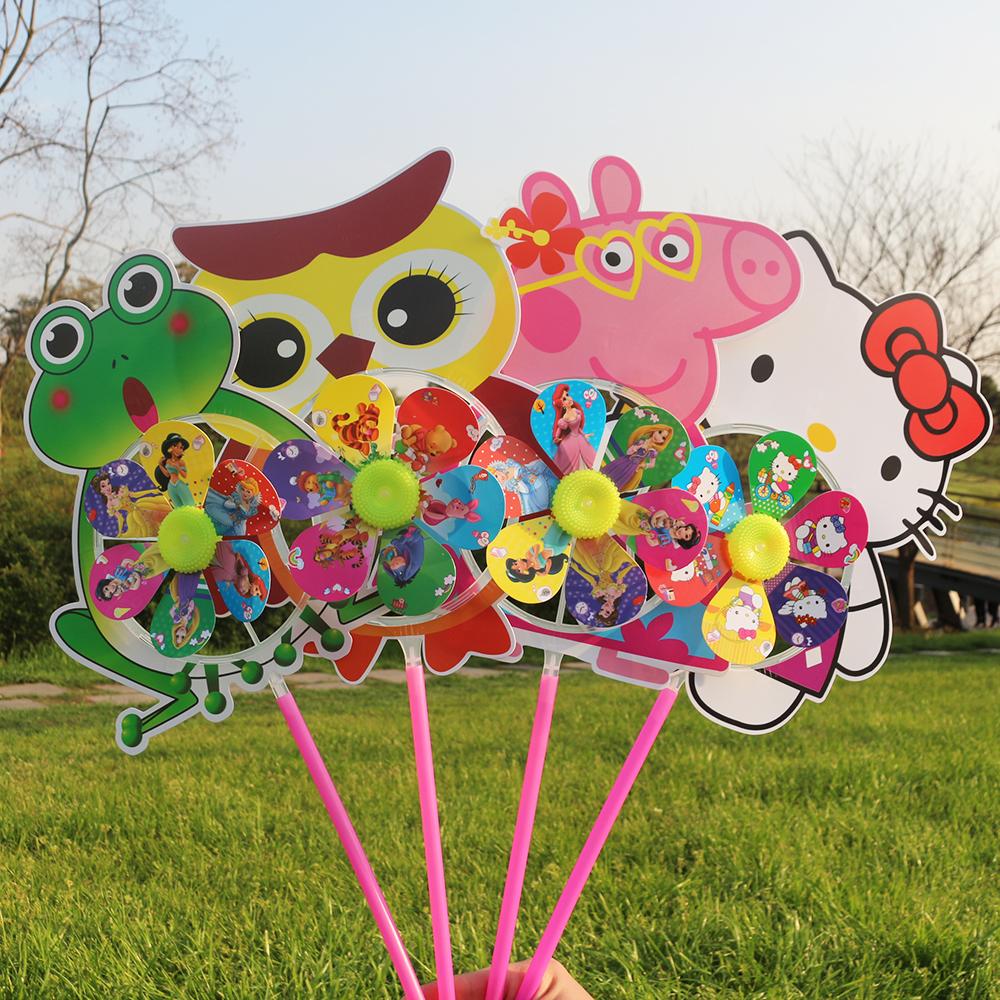 发光风车七彩夜光带灯魔力装饰户外旋转卡通传统玩具幼儿园小朋友