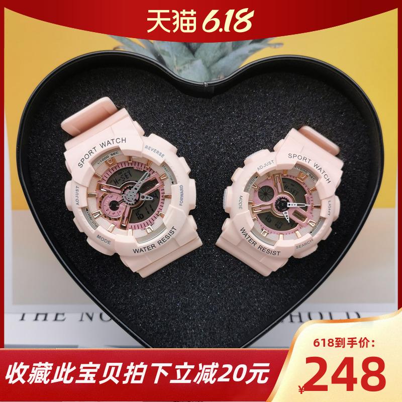 情侣款手表一对女学生韩版简约潮流多功能男防水ins风超火电子表