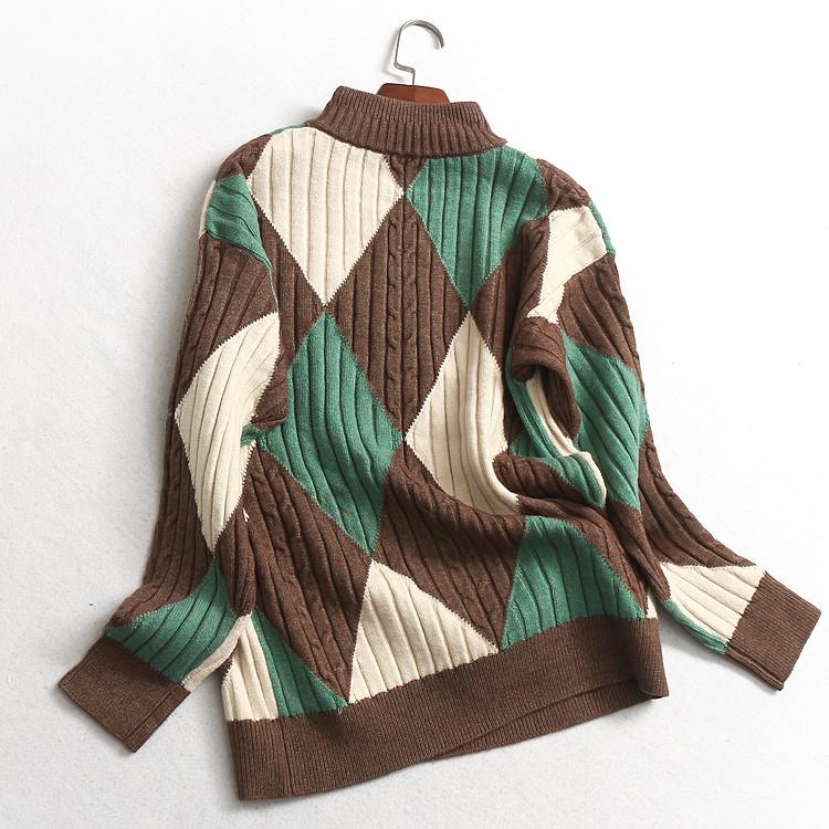 M631女装冬季新款几何图形小高领长袖百搭女式针织衫上衣套头毛衣图片