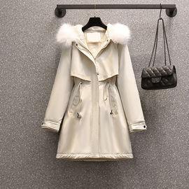 加绒加厚棉袄风衣大码女装胖妹妹宽松减龄棉服外套中长款棉衣