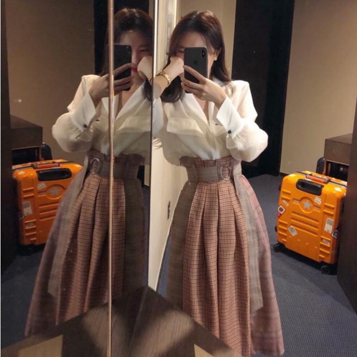 70.70元包邮法式复古半身裙两件套套装女夏韩版高腰格子裙子仙女超仙森系秋装
