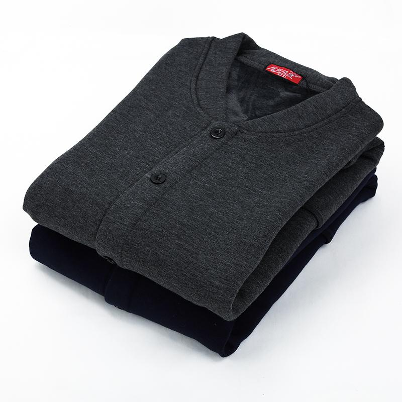 中老年男女士款保暖开衫纽扣单件上衣加绒加厚秋冬外套内衣