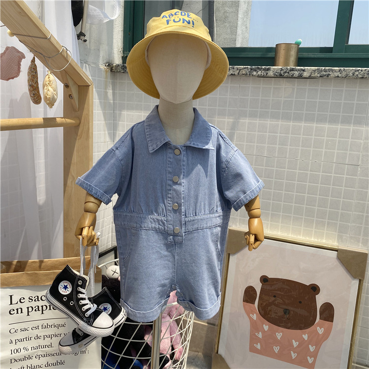 Korean childrens summer jeans Jumpsuit boys and girls Casual Short Sleeve denim overalls shorts