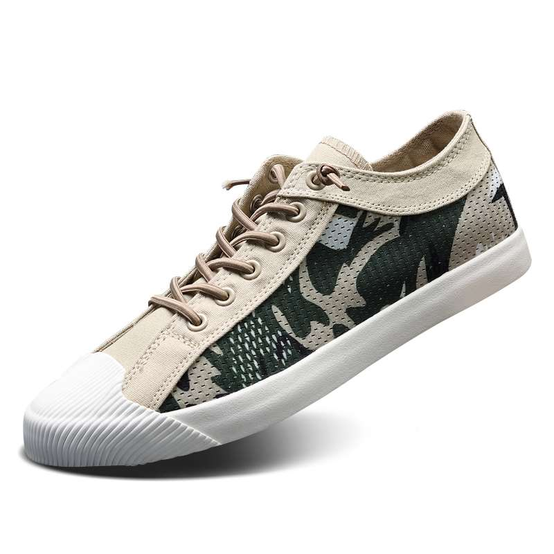 Cloth shoes early spring 2020 new fashion shoes versatile camouflage casual shoes mesh breathable Korean mens shoes low top pattern shoes