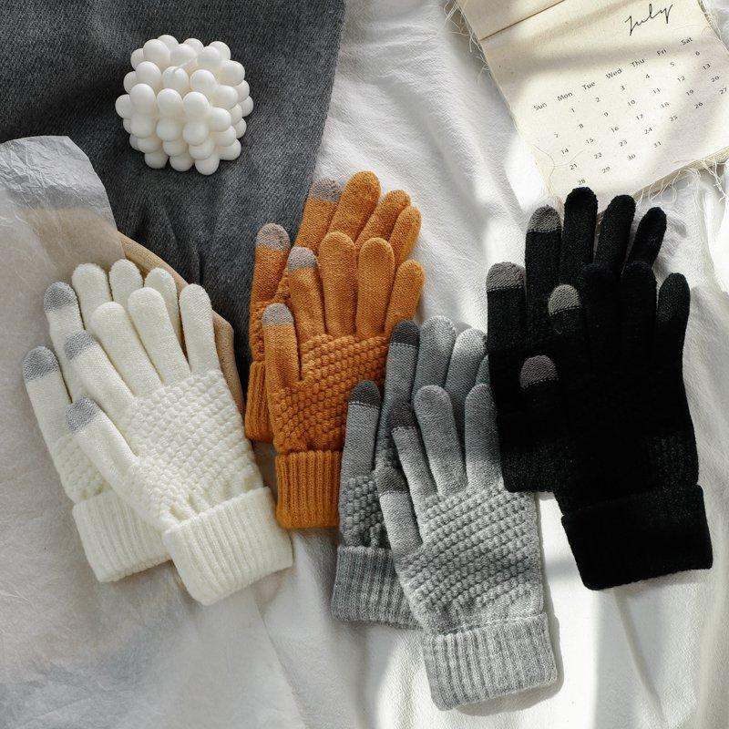 Gloves female student 2019 new Korean version autumn and winter warm and thick touch screen gloves male couple